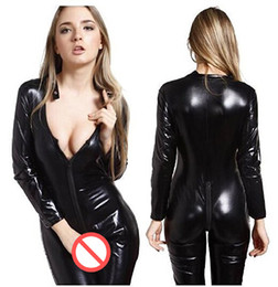 Wholesale Leather Jumpsuit Catwoman - Gothic Women Faux Leather Catsuit Sexy Deep V-neck Zipper Front Bodysuit Long Sleeve Bandage Jumpsuit Catwoman Cosplay Costume