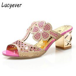 Wholesale High Heeled Booties - Lucyever Women Fashion High Heels Slipper Sexy Peep Toe Hollow Out Crystals Party Shoes Woman Summer Slip on Beach Flip Flops