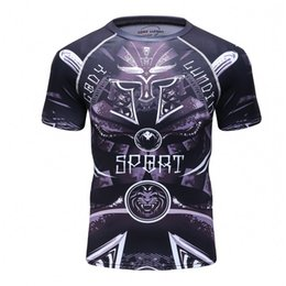 Wholesale mma t shorts - Spider Lion Men's 3D Printed T Shirt Short Sleeved Man T-shirt Compressed Clothes Quick Drying Stretch MMA Tights 2017 New Tops