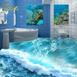 Пользовательские настенная роспись пола 3D стереоскопический океан морская вода Спальня Ванная комната пол обои ПВХ водонепроницаемый самоклеящиеся фрески обои от