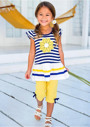 Wholesale wholesale for kids t shirts - New fashion summer toddler baby kids girls clothes striped marguerite flower top T-shirt + pants outfits 2pcs set fit for kids 2-8T