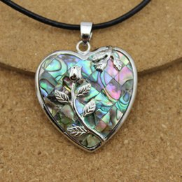 Wholesale Abalone Jewelry Making - 1PC Heart Abalone Shell Necklace Pendants In Jewelry Making DIY Fittings F1510