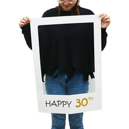 Wholesale Photo Booth Photobooth - Happy Birthday 30th Photo Booth Props Photo Frame Photobooth Anniversary 30 years Birthday Decorations Party Supplies