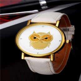 Wholesale Owl Dresses For Women - New Fashion Cartoon Owl Style Dress Gold Watch Women Clock Casual Wrist Watch Quartz Watches For Women Mens Gift Leather Strap