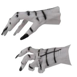 Luvas do fantasma do dia das bruxas on-line-2 pcs / par Branco Mão Luvas De Borracha Assustador Halloween Luvas Luvas Trajes Adereços Decorações Adultos Luvas para Homens Mulheres
