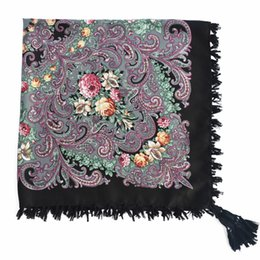 Wholesale stylish pashmina - 15 color Russian hot fringed printed ladies square scarf Spring summer ethnic fringe stylish floral flows shawl air scarf