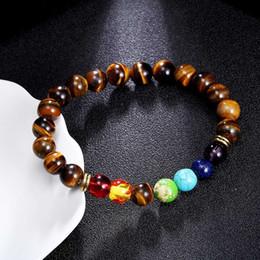 bracelete de pérolas de olho de tigre para homens Desconto Pedra Natural Olho de Tigre 7 Chakra Pulseiras Bangles Yoga Contas de Equilíbrio Oração de Buda Pulseira Elástica Das Mulheres Dos Homens de Presente Da Jóia