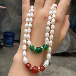 2019 hängende mutter perle china Natürliche Süßwasserperlen Halskette Achat Halskette Anhänger Geschenke Mutter günstig hängende mutter perle china