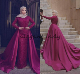 vestidos formales de ropa musulmana Rebajas 2018 musulmanes mangas largas vestidos de noche con tren desmontable de encaje con cuentas vestido de fiesta largo árabe formal desgaste del partido