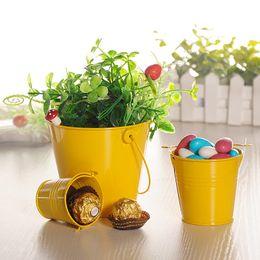 Wholesale Decoration Pails - Color Mini Metal Colorful Bucket Candy Keg Pails DIY Wedding Party Favour Decoration Gift Wrap DEC346