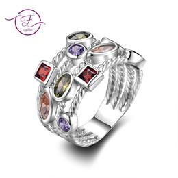 anéis dourados do menino Desconto Sterling Silver 925 Anéis para As Mulheres de Múltiplas Camadas de Zircão Colorido Pedra Diariamente Jóias Finas de Luxo Para O Casamento Da Festa de Noivado