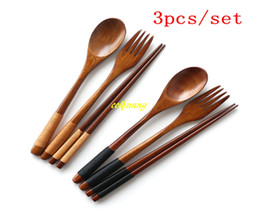 Wholesale Vintage Wood Spoon - 10sets lot Free shipping Japanese Vintage Wooden Chopsticks Spoon Wood Fork Tableware For Wedding Party gift