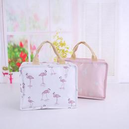 Wholesale Foil Fabrics - Flamingo Flower Printed Handheld Insulation Pack Lunch Bag Student Dinner Storage Bag Picnic Foil Food Warm Bag 300pcs OOA4839