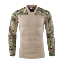 2019 camuflaje de manga larga camisa uniforme Camuflaje de colores Ejército de EE. UU. Uniforme de combate camisa militar carga multicam Airsoft paintball táctica con camiseta de manga larga camuflaje de manga larga camisa uniforme baratos