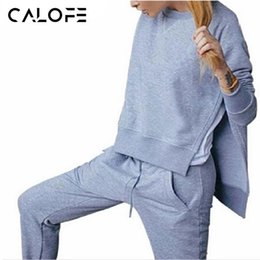 Wholesale Xl Womens Jogging Suits - CALOFE Womens Sport Suits Solid Running Sets Split Hoodie Pullover Tops + Sweat Pants Thin Fleece Jogging Suit Sportswear Z40