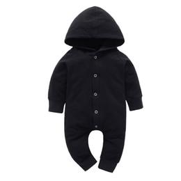 haifisch großhändler Rabatt GRNSHTS Baby Jungen Mädchen Schwarz Snap Langarm Hoodie Onesie Overall Kinder Feste Body Outfits Kleidung