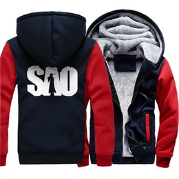 1d5a67758 casuais em linha Desconto Sword Art Online roupas de marca engraçado  Camuflagem manga quente grosso zíper