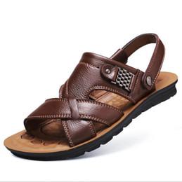 новые мужские тапочки Скидка 2018 производство и продажа новое лето мужская мода сандалии мужчины натуральная кожа досуг тапочки пляжная обувь мужская открытый сандалии
