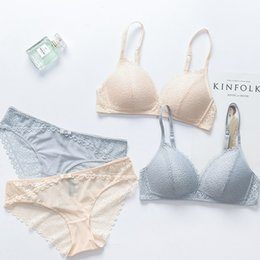 Wholesale japanese lace lingerie - Female Itimates Japanese e Cup Thin Lace lingerie Set Deep V Sexy Bra Set Seamless Bra Brief Women Underwear Bralette