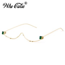 Wholesale eyeglass frames crystal - WHO CUTIE 2018 Unique No Lens Half Frame Eyeglasses Frame Women Wire Cat Eye Brand Designer Crystal Rhinestone Decoration OM546