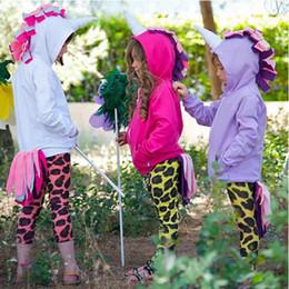 Wholesale Kids Jacket Animal Hoodie - 3 Colors Baby Girls Unicorn Hoodies Kids Animal Jackets Cosplay Costume Infant Cartoon Casual Zipper Sweatshirts CCA9071 5pcs