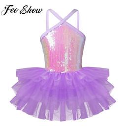 3c6ad01d3ae6 FEESHOW Sleeveless Halter Sequins Kids Bodysuit Girls Ballet Dance Clothes  Dancewear Leotard Costume Skirt Tutu Strap Dress