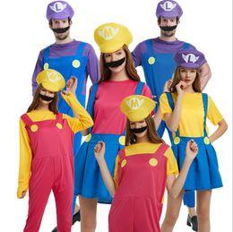 Vestiti di natale degli uomini online-Super Mario Bros Costume Cosplay Set uomo donna Mario Dress Cosplay Halloween Christmas Party Cosplay KKA6112