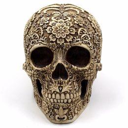 I crani dei mestieri della resina online-Horror Home Table Grade Decorativi Artigianali Human Horror Resin Skull Bone Skeletons Decorazione di Halloween Ornamenti di fiori Scheletro