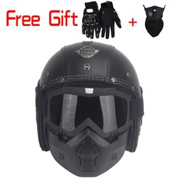 Wholesale Perfect Mask - New Motocross helmet Mask Detachable Goggles And Mouth Filter Perfect for Open Face Motorcycle Half Helmet Vintage Helmets