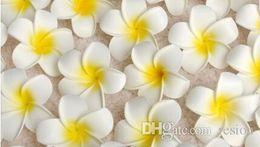 Wholesale wholesale hawaiian flower clips - Wholesale 100Pcs lot 7cm Plumeria Hawaiian Foam Flower For Wedding Party Hair Clip Flower bouquet Decoration