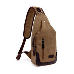Wholesale Male Coffee - Canvas Chest Pack Multifunctional Men Messenger Bags Casual Travel Male Small Shoulder Bag