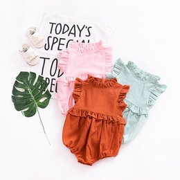 Wholesale Newborn Ruffle Rompers Wholesale - 2018 Summer Newborn Baby Girls Clothes Ruffles Sleeveless Rompers Jumpsuit Clothes Outfits Solid Cotton Kids Clothing Infant Toddler Clothes