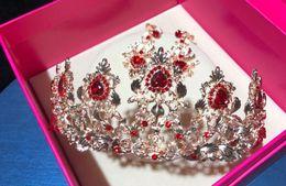 Canada Mariée coréenne mariage baroque cristal rouge forage tête ornements accessoires de robe de mariée de boucle d'oreille Offre
