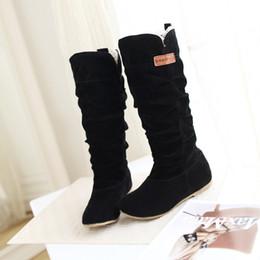Argentina Mujeres encaje Nubuck talones planos botas de nieve de invierno zapatos Flock de las mujeres acolchado de felpa invierno largo montar botas de moto zapatos cheap padded shoe laces Suministro