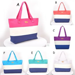 Wholesale stripe maternity - Spell color stripes Tote Beach Bags Large Capacity Foldable Stripe Handbags Reusable Shopping Bag Travel Maternity bag Diaper Bags C4637