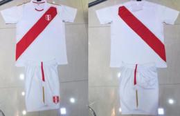 Wholesale Adult Sports Shorts - 18 19 Peru Home Soccer Uniforms Paolo Hurtado Renato GUERRERO Soccer Jersey Adult Thai Quality Sports Kits Peru World Cup 2018 Football Sets