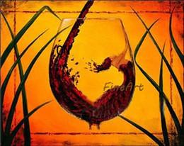 Современные картины из стекла онлайн-Ручная роспись масляными картинами современные современные бокал стены искусства холст масляной живописи бутылка вина украшения столовая украшения дома