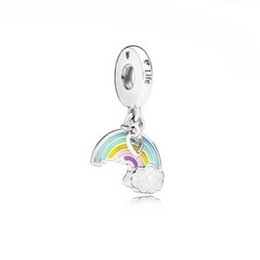 Wholesale Sterling Silver Hang Charms - Authentic 925 Sterling Silver Rainbow of Love Hanging Charm Fits European Style Bracelets