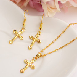 vogue pendant Coupons - HOT Special Design Christian Vogue True Real 14K Solid Fine Yellow Gold Filled Crucifix Cross Timeless Charm Earrings Pendant Chain Set