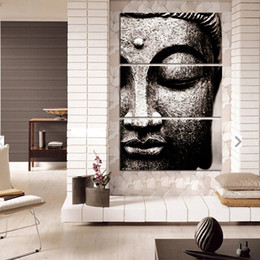 Wholesale Rooms Painted Gray - BANMU Frameless Gray 3 Panel Modern Large Oil Style Buddha Wall Art Print on Canvas Home Living Room Decorations Wall Art