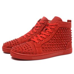 Wholesale Cheap Womens Designer Shoes - 2018 Cheap Red Bottom Sneakers For Men Luxury Black Suede With Spikes Fashion Casual Mens Womens Shoes Designer Leisure Trainers Footwear