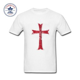 Wholesale Distressed T Shirts - 2017 Hot Selling Funny Crusader Knights Templar Distressed Cross Cotton T Shirt for men