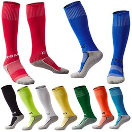 Wholesale Old Socks - Kids Long Soccer Socks Towel Bottom Sports Team Tube Compression Stockings Knee High 10 Styles Fit 8-13 Years Old FBA Drop Shipping G496Q