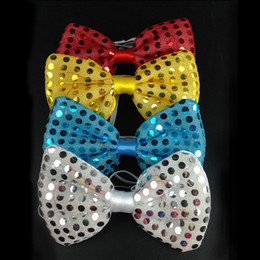 Wholesale light up bow tie - Fashion Flashing Bowknot Shape Tie Glowing In The Dark Sequins Ties Resuable LED Light Up Cravat Popular XL-589