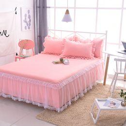 Insieme delle biancheria da letto dell'increspatura delle ragazze online-Copriletto in lino rosa con copriletti Federe in pizzo con volant Set di lenzuola per bambine Copriletto principessa