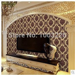 Wholesale Damask Backgrounds - beibehang Europe Classic Luxury Flocking DAMASK Velvet Wallpaper WallCoverings Roll For TV Background Wall Decor papel de parede