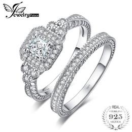 Юбилейная группа канала онлайн-JewelryPalace Принцесса вырезать 1ct CZ годовщины обещание обручальное кольцо обручальное кольцо канала свадебные наборы стерлингового серебра 925