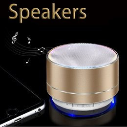 Wholesale led aluminum light box - New A10 Bluetooth Speaker Aluminum Card Mini Speaker Wireless LED Light Bluetooth Audio