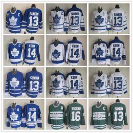 Маты sundin онлайн-Сшитые Торонто Maple Leafs 13 Коврики Sundin / 14 Dave Keon / 16 Дарси Такер Белый Синий Зеленый Хоккей Майки Старинные Классические Мужские Трикотажные Изделия