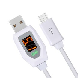 Wholesale Ios Usb Cable - Universal charge cable Micro USB Data Syn Charging Cable safety Digital led Indicator Display Protection For Android Samsung For iPhone iOS